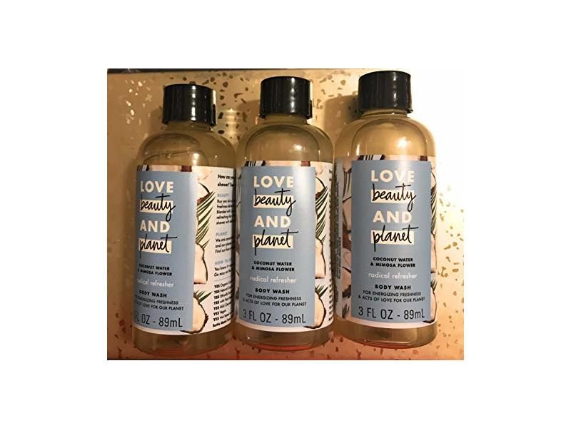 Love Beauty And Planet Coconut Water & Mimosa Flower Body Wash ~ Travel Pack of 3~3 fl oz each/total 9 fl oz