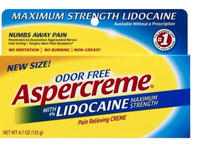Aspercreme With Lidocaine, Maximum Strength, Odor Free, 4.7 oz/133 g