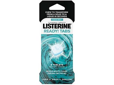 Listerine On-the-Go Ready! Tabs Chewable Tablets, Clean Mint, 8 Tablets - Image 1