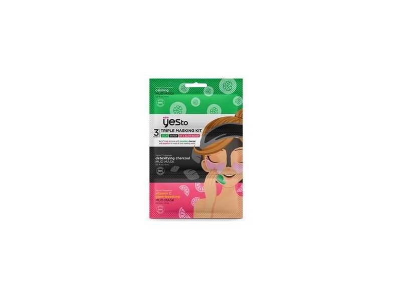 Yes To Triple Masking Kit: Cucumber, Charcoal, Grapefruit