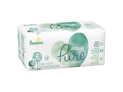 Pampers Aqua Pure 2X Pop-Top Sensitive Water Baby Wipes, 112 Count