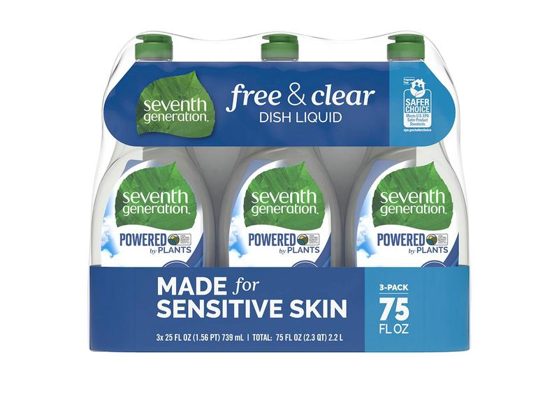 Seventh Generation Free & Clear Dish Liquid, 3-pack
