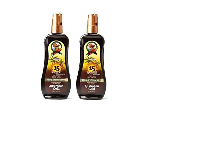 Australian Gold SPF 15 Sunscreen Spray Gel with Instant Bronzer, 8 Ounce - 2 ...