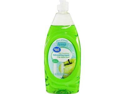 Great Value Ultra Concentrated Dishwashing Liquid, Crisp Apple Scent. 24 fl oz