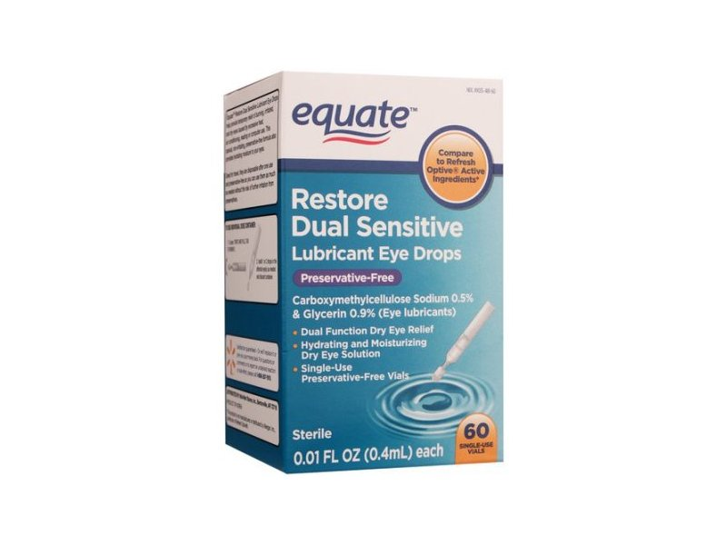 Equate Restore Dual Sensitive Eye Drops, Preservative Free, .01 fl oz, 60 ct