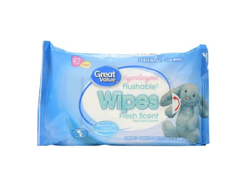 Great Value Hypoallergenic Flushable Wipes, 42 ct
