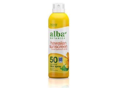 Alba Botanica Hawaiian Clear Spray Sunscreen, SPF50, Nourishing Coconut, 6 oz (171 g)