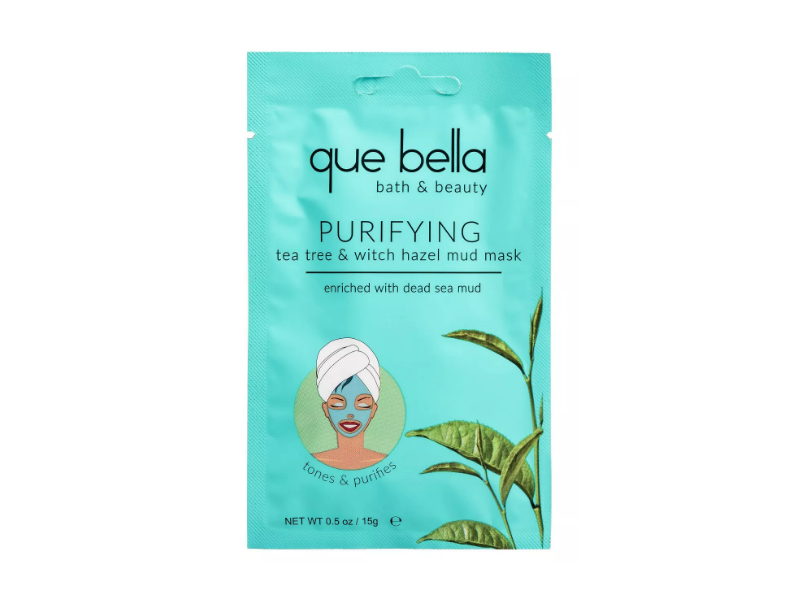 Que Bella Purifying Mud Mask, Tea Tree & Witch Hazel, 0.5 oz/15 g, Pack Of 6