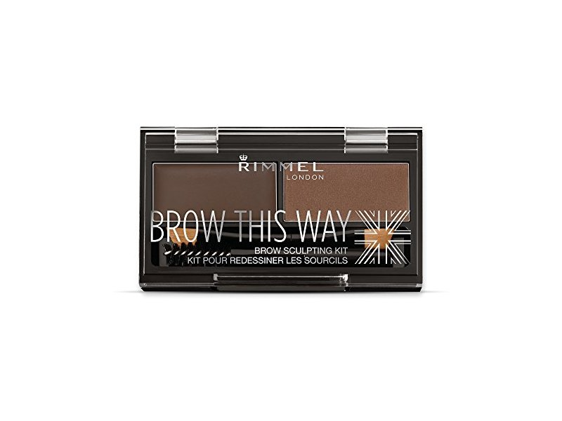 Rimmel Brow This Way Brow Sculpting Kit, Dark Brown, Powder 0.04 oz, Wax 0.03 oz