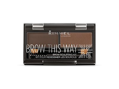 Rimmel Brow This Way Brow Sculpting Kit, Dark Brown, Powder 0.04 oz, Wax 0.03 oz - Image 1