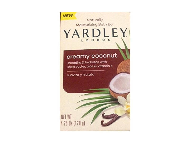 Yardley of London Naturally Moisturizing Bath Bar, Creamy Coconut, 4.25 oz