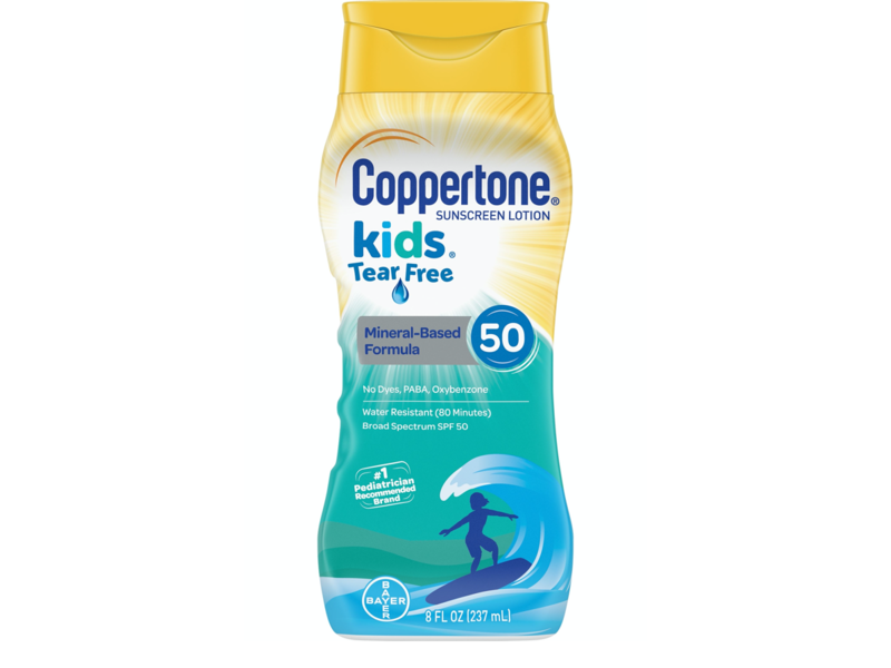 Coppertone Kids Sunscreen Tear-Free Mineral Based Water Resistant Lotion Broad Spectrum SPF 50