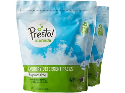 Presto! 94% Biobased Laundry Detergent Packs, Fragrance Free, 90 Loads (2-pack, 45 each)