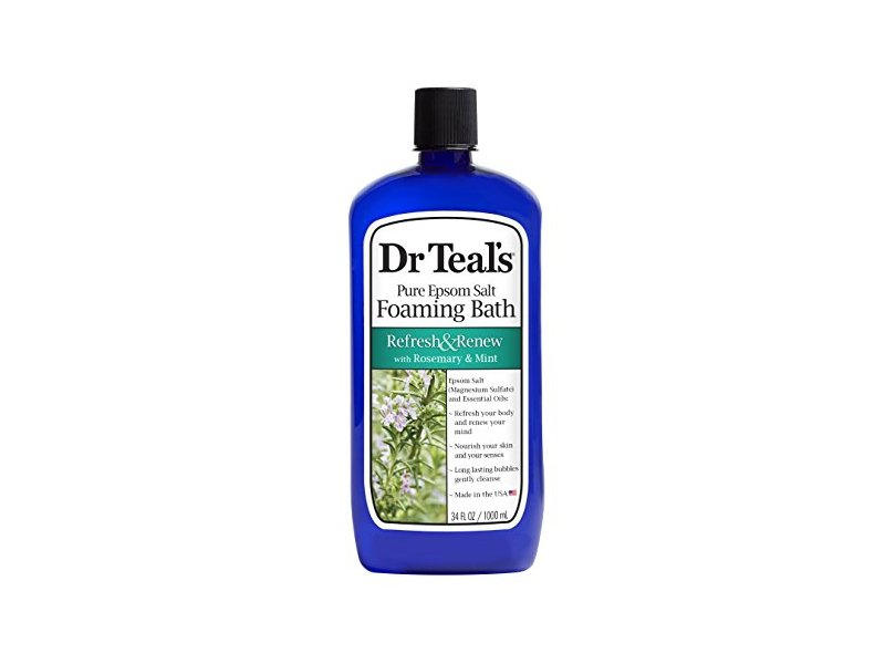 Dr Teal's Pure Epsom Salt Foaming Bath, Refresh & Renew with Rosemary and Mint, 34 fl oz