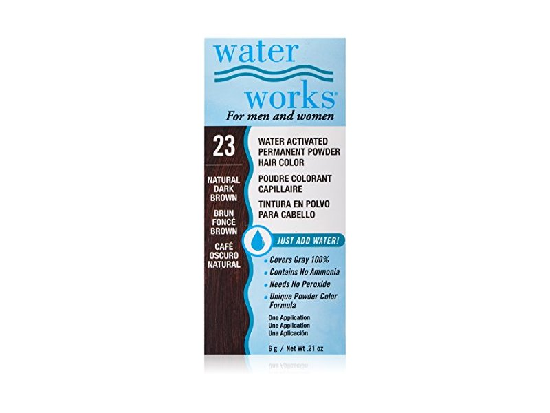 Waterworks Water Activated Permanent Powder Hair Color, #23 Natural Dark Brown, .21 oz