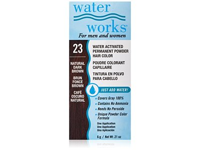Water Works Water Activated Permanent Powder Hair Color, #23 Natural Dark Brown, .21 oz