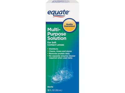 Equate Sterile Multi-Purpose Contact Lenses Solution For Soft Contact Lenses, 12 FL OZ