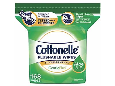 Cottonelle GentlePlus Flushable Wipes with Aloe & Vitamin E, Refill, 168 Count