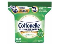 Cottonelle GentlePlus Flushable Wipes with Aloe & Vitamin E, Refill, 168 Count - Image 2