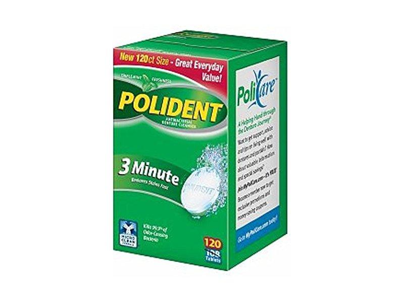 Polident 3 Minute Antibacterial Denture Cleanser, 120 tablets