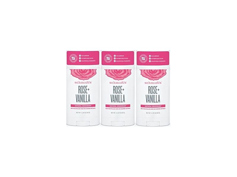 Schmidt's Natural Deodorant, Rose Vanilla, 3 Pack