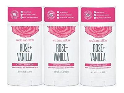 Schmidt's Natural Deodorant, Rose Vanilla, 3 Pack
