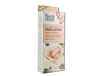 Nourish Organic Lightweight Moisturizing Face Lotion, Argan + Rosewater, 1.7 fl oz