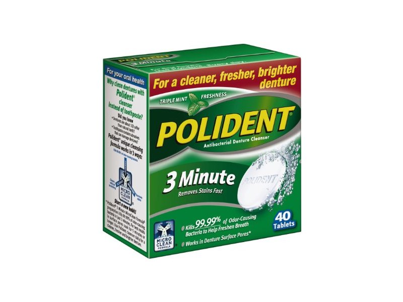 Polident 3-minute Denture Cleanser Tablets, 40-Count