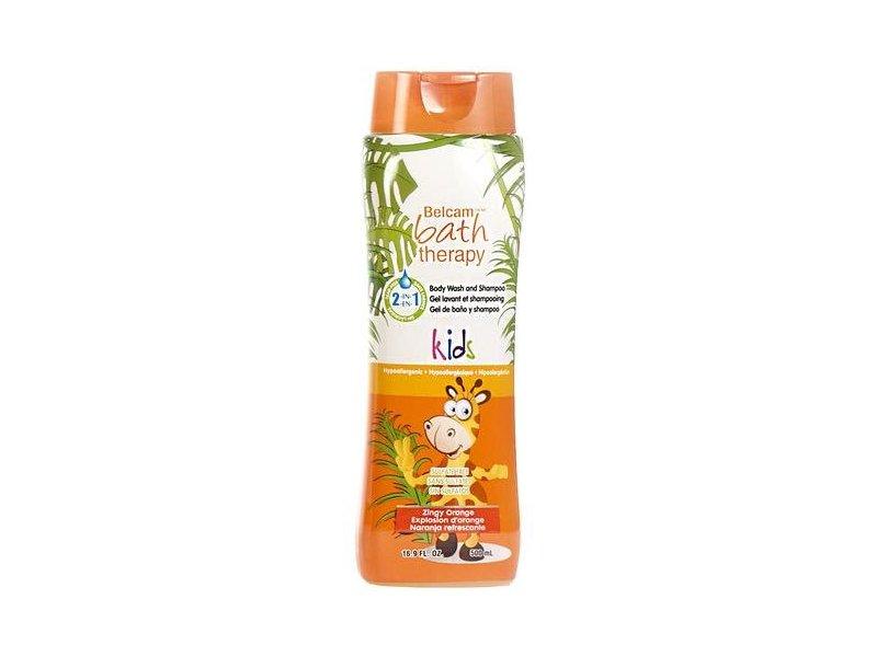Belcam Bath Therapy Kids Body Wash and Shampoo, Zingy Orange, 16.9 Fluid Ounce