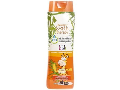 Belcam Bath Therapy Kids Body Wash and Shampoo, Zingy Orange, 16.9 Fluid Ounce