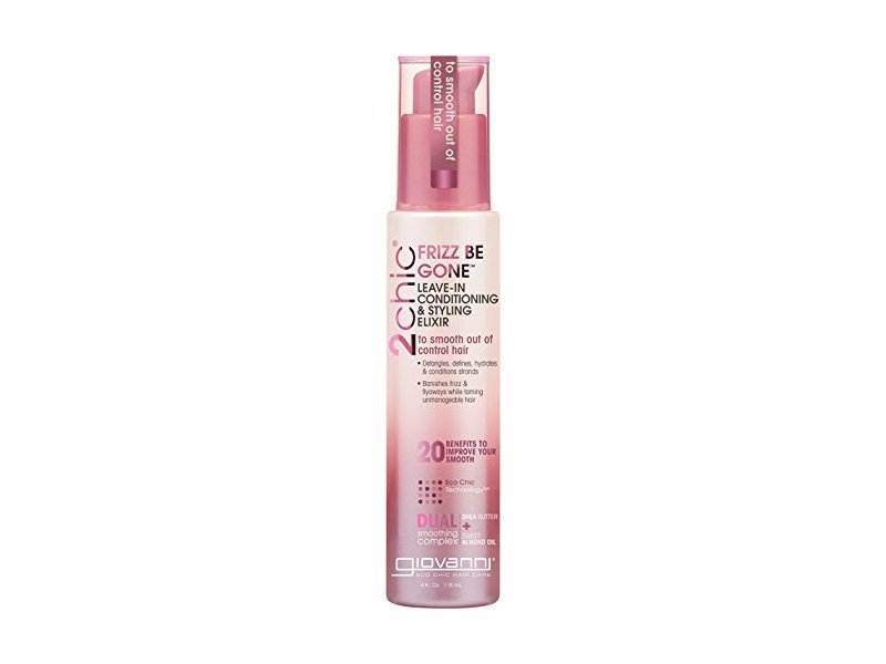 Giovanni 2chic Frizz Be Gone Shea Butter & Sweet Almond Oil Leave-In Conditioner and Styling Elixir, 4 Ounce