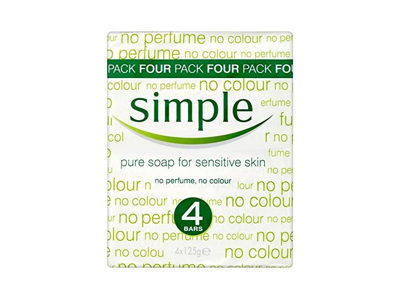Simple Pure Soap for Sensitive Skin, 125 g (Pack of 4)