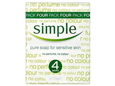 Simple Pure Soap for Sensitive Skin, 125 g (Pack of 4) - Image 1