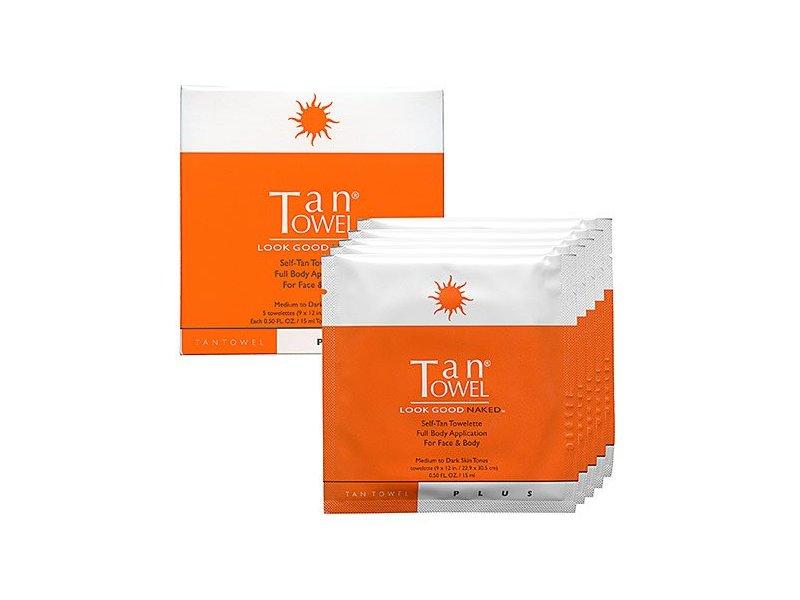 TanTowel Plus Self-Tan Towelette, Medium to Dark Skin Tones, 5 Count