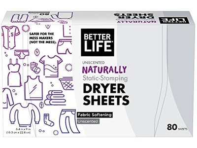 Better Life Dryer Sheets, Unscented, 80 Count