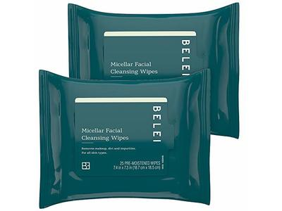 Belei Oil-Free Micellar Facial Cleansing Wipes, Alcohol Free, 25 Count (Pack of 2)