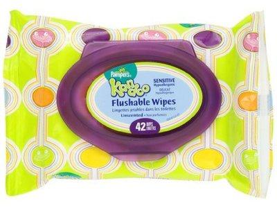 Pampers Kandoo Flushable Wipes, Sensitive, Soft Tub, 24 Count - Image 1
