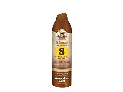 Australian Gold Continuous Spray Sunscreen with Instant Bronzer, SPF 8, 6 Ounce