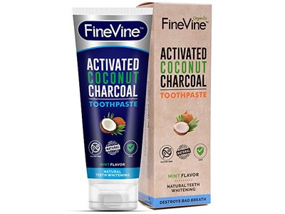 Fine Vine Activated Coconut Charcoal Toothpaste, Mint, 4 oz