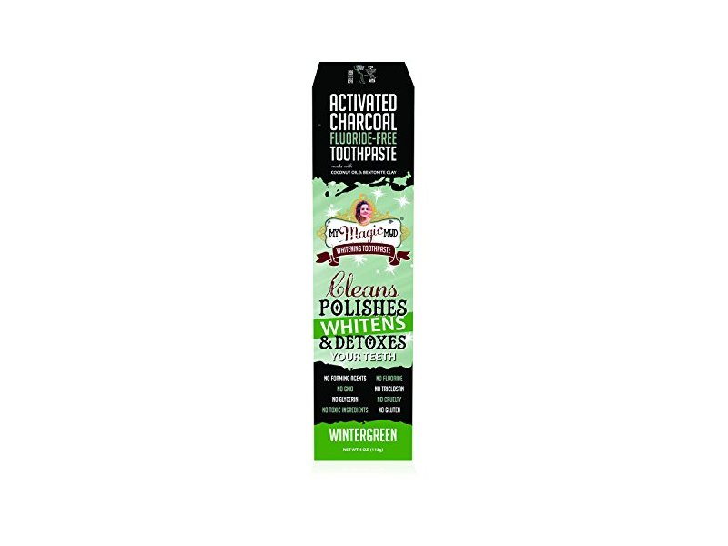 My Magic Mud, Activated Charcoal Coconut Oil & Bentonite Clay Whitening Toothpaste, Wintergreen, 4 oz