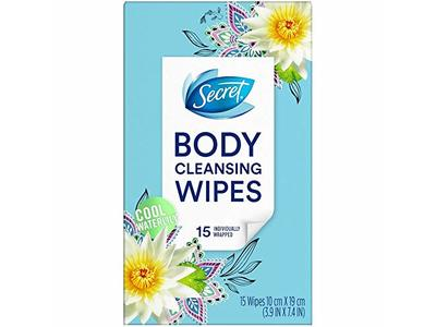 Secret Body Cleansing Wipes, Cool Waterlily, 15 Wipes