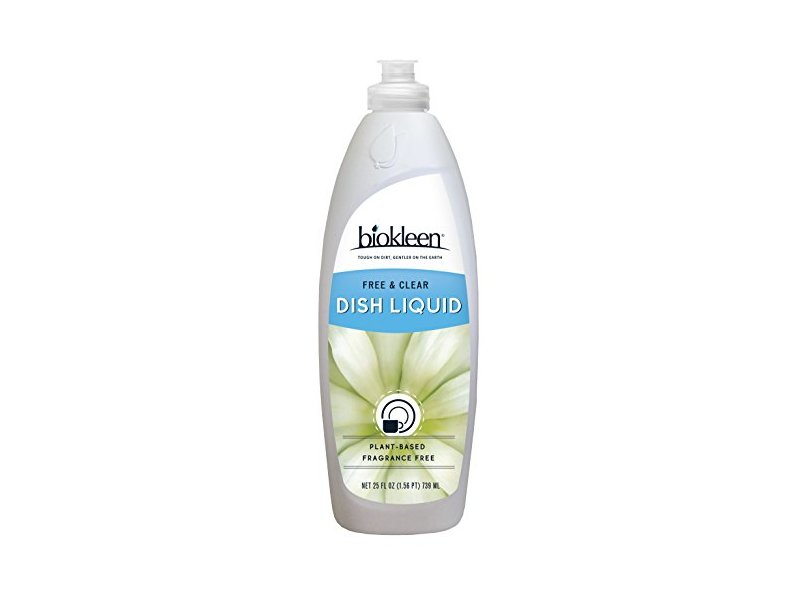 Biokleen Dish Liquid, Free & Clear, 25 Ounces (Pack of 6)