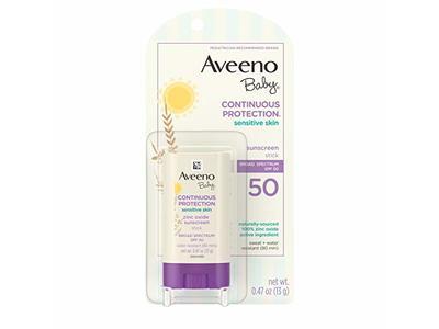 Aveeno Baby Continuous Protection Sunscreen Stick Spf 50, Sensitive Skin, 0.47 oz / 13 g