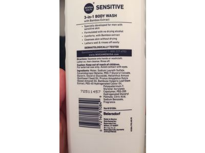Nivea Men 3-in-1 Body Wash, Sensitive, 16.9 OZ - Image 3