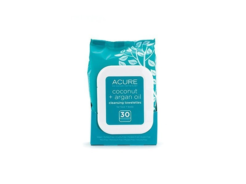 Acure Organics Coconut & Argan Oil Cleansing Towelettes, 30 ct Pack