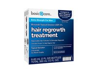 Basic Care Minoxidil Topical Solution USP, 5% Hair Regrowth Treatment for Men, 12.0 fl oz - Image 4