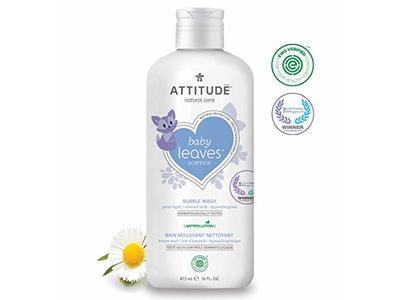 Attitude Baby Leaves, Hypoallergenic Bubble Bath & Body Wash, Almond Milk, 16 Fluid Ounce