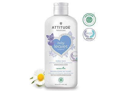 Attitude Baby Leaves, Hypoallergenic Bubble Bath & Body Wash, Almond Milk, 16 Fluid Ounce - Image 1
