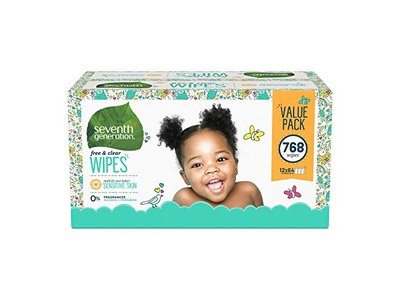 Seventh Generation Baby Wipes, Free & Clear with Flip Top Dispenser, 768 count - Image 1