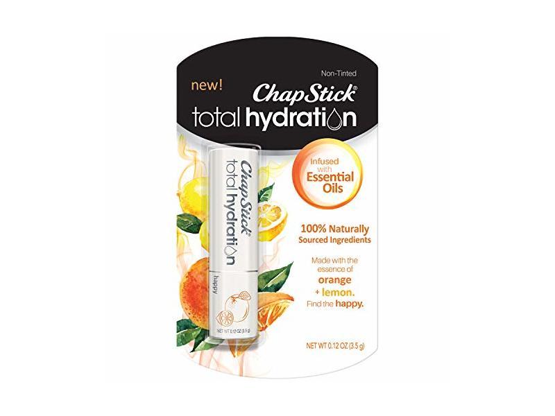 ChapStick Total Hydration Essential Oils Lip Balm, Happy Orange + Lemon, 0.12 oz